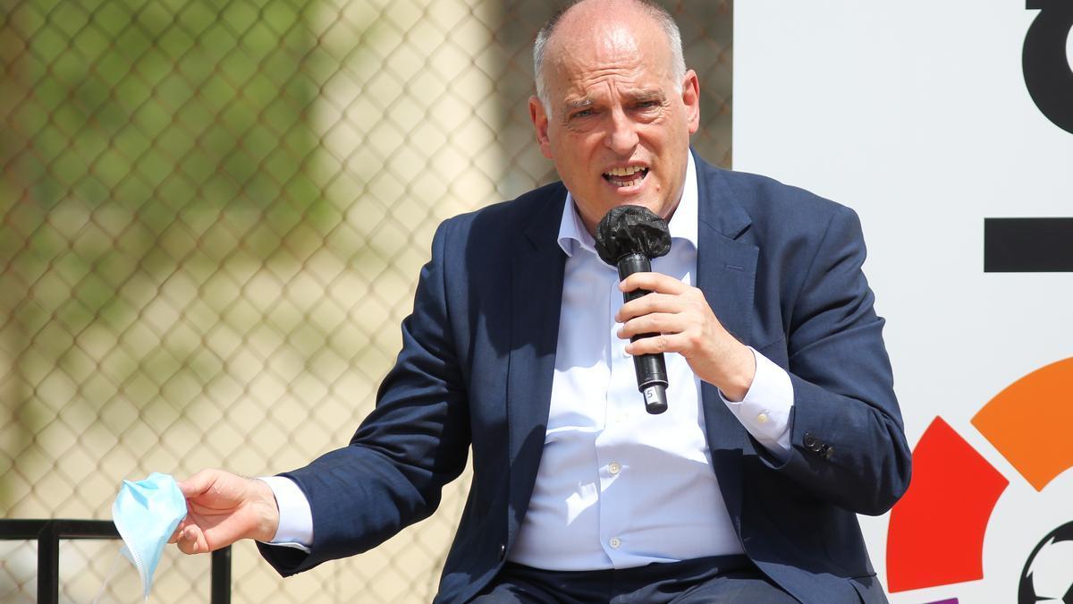 Javier Tebas, presidente de LaLiga, durante un acto.