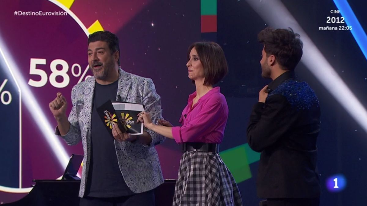 Tony Aguilar, Julia Varela y Blas Cantó en 'Destino Eurovisión'.
