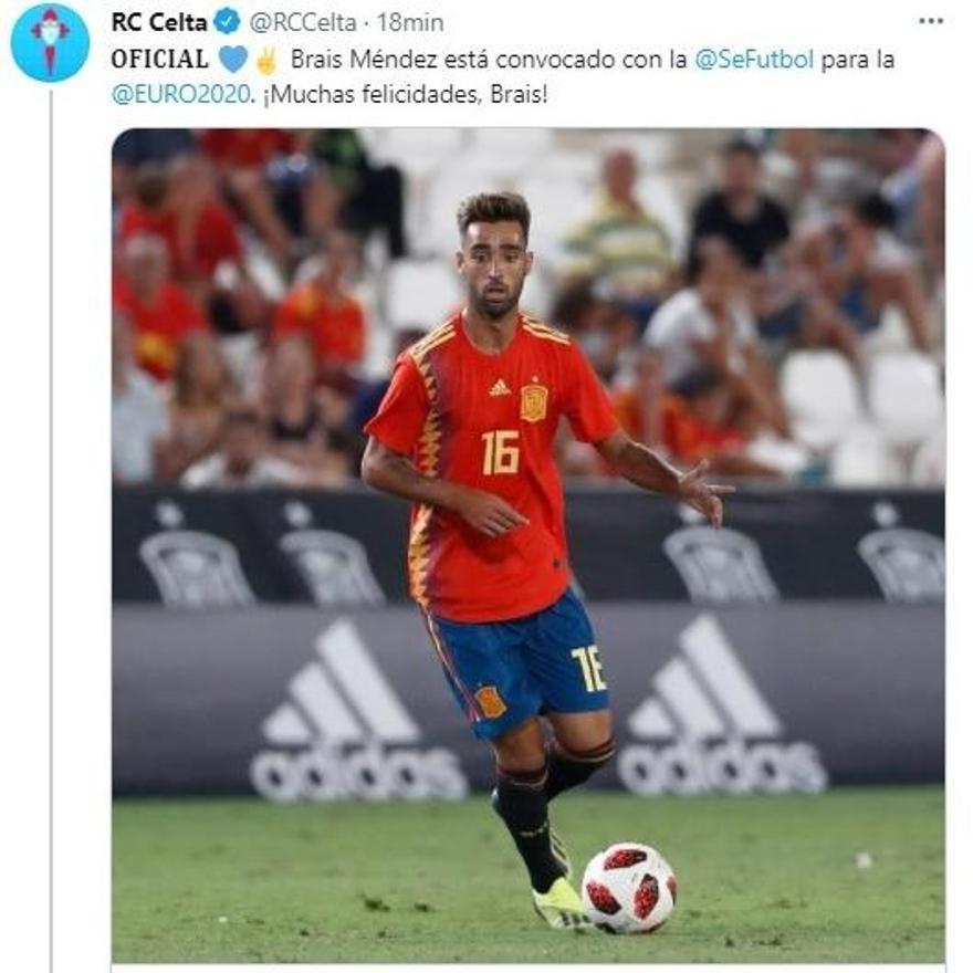 Tuit del Celta dando por sentada la convocatoria de Brais para la Eurocopa que tuvo que borrar después.