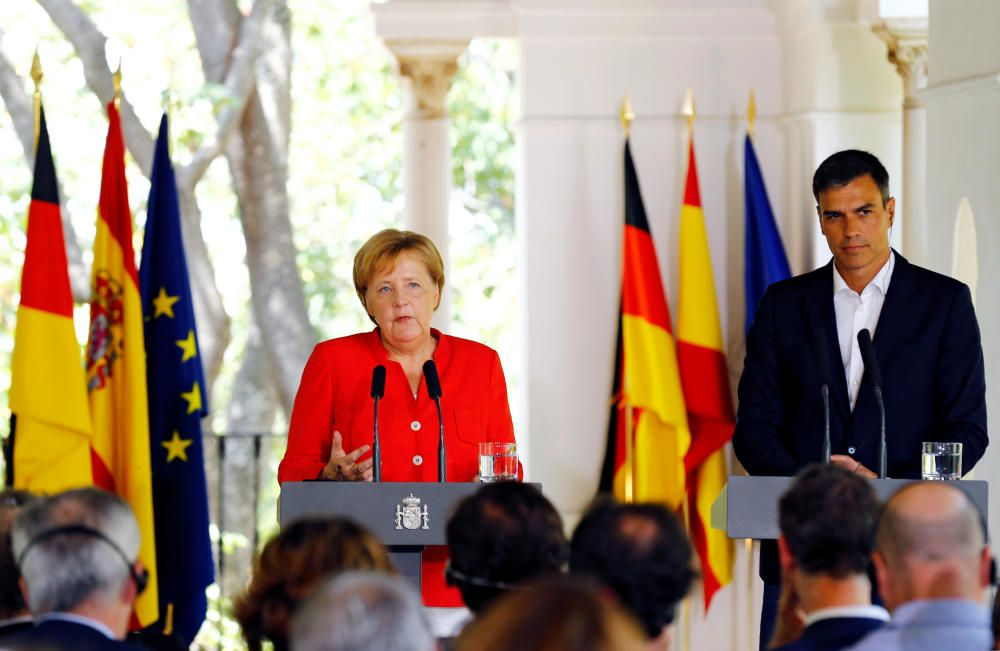 El encuentro de Merkel y Sánchez, en imágenes