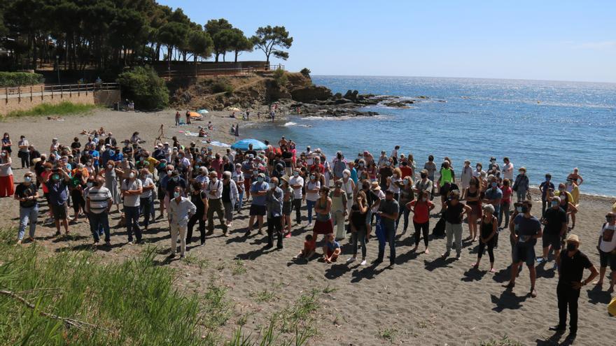 Protesta per salvar de la construcció la pineda de la platja de la Farella a Llançà