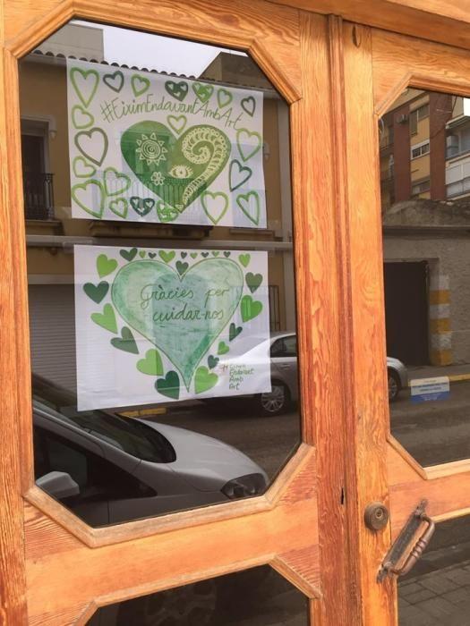Corazones verdes por los escolares de Burjassot