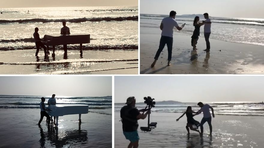 A Lanzada vuelve a convertirse en plató, esta vez con piano de cola y baile de salón en el agua