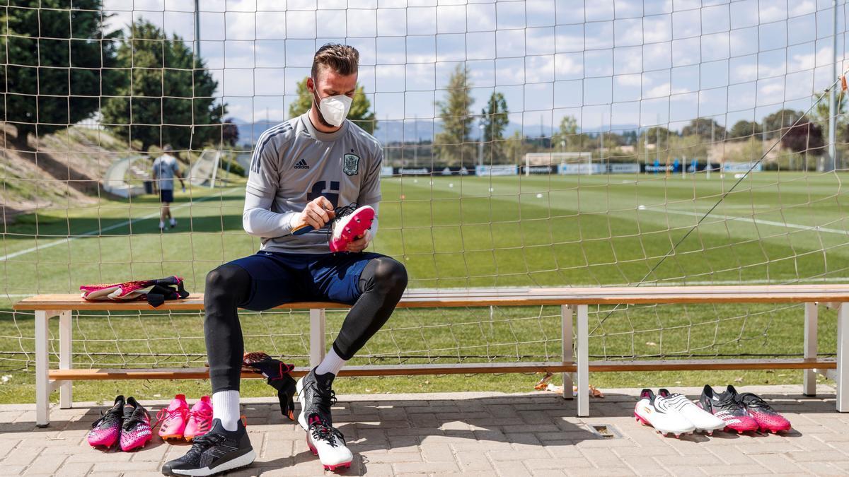 El guardameta David de Gea durante un entrenamiento de la Selección