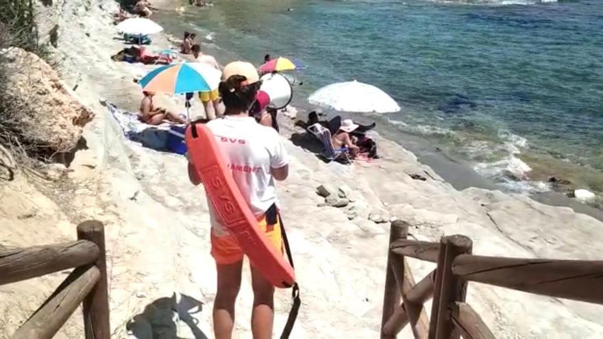 Izan la bandera amarilla en la Fustera y el Baladrar de Benissa por la presencia de medusas