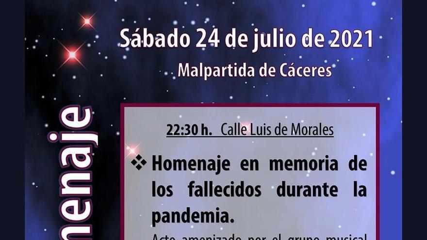 Homenaje a las víctimas del covid en Malpartida de Cáceres