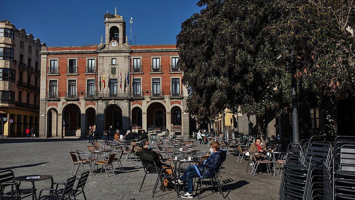 Terrazas instaladas en la Plaza Mayor.
