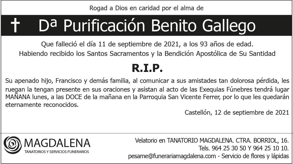 Dª Purificación Benito Gallego