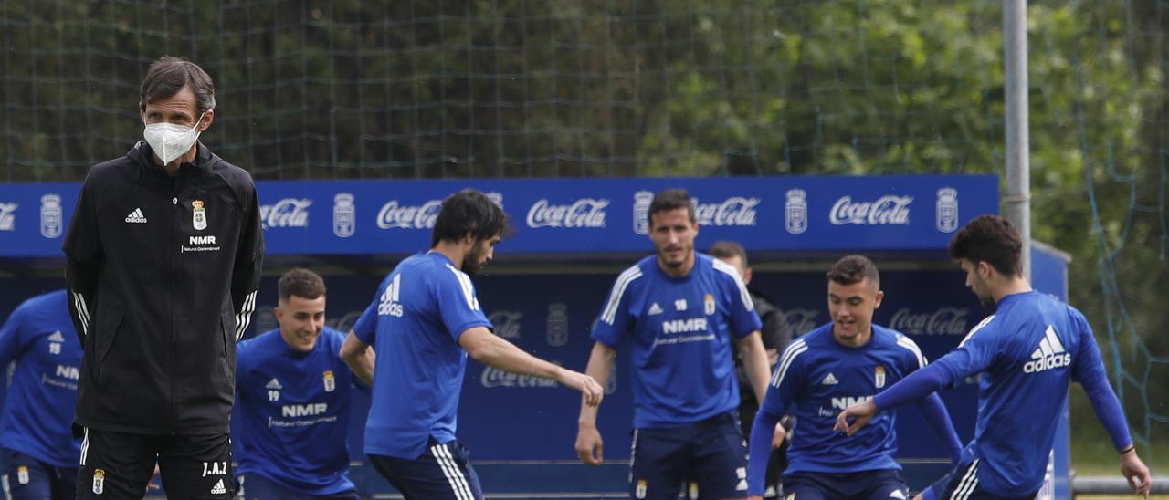 Ziganda, durante un entrenamiento del Real Oviedo
