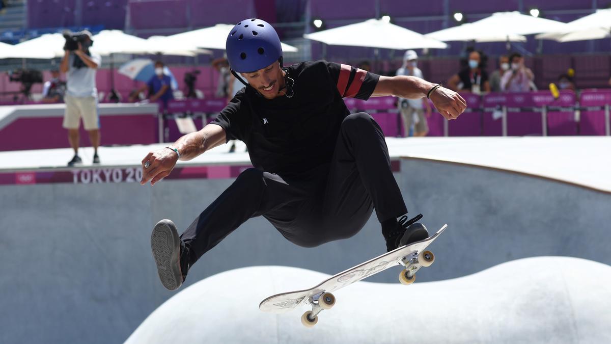 Danny León, en un momento de la ronda clasificatoria de skate park.