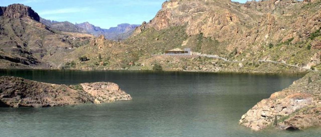 Recreación virtual de las instalaciones de la central hidroeléctrica con la presa de Soria llena de agua. | | LP/DLP