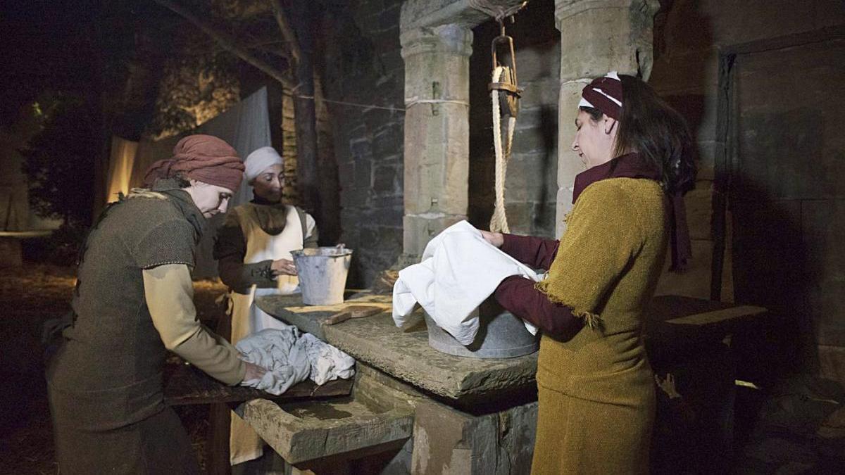 Una de les escenes del pessebre vivent de Sant Benet de l'any passat