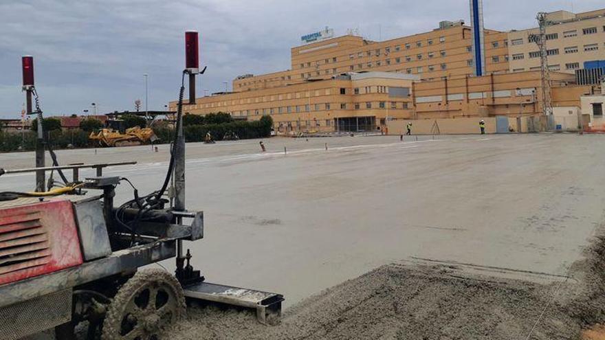 Las obras de la explanada para el hospital de campaña de Castelló, a un paso de finalizarse