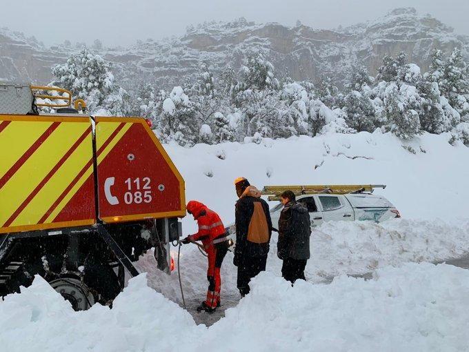 Imágenes de la intensa nevada caída en Els Ports.