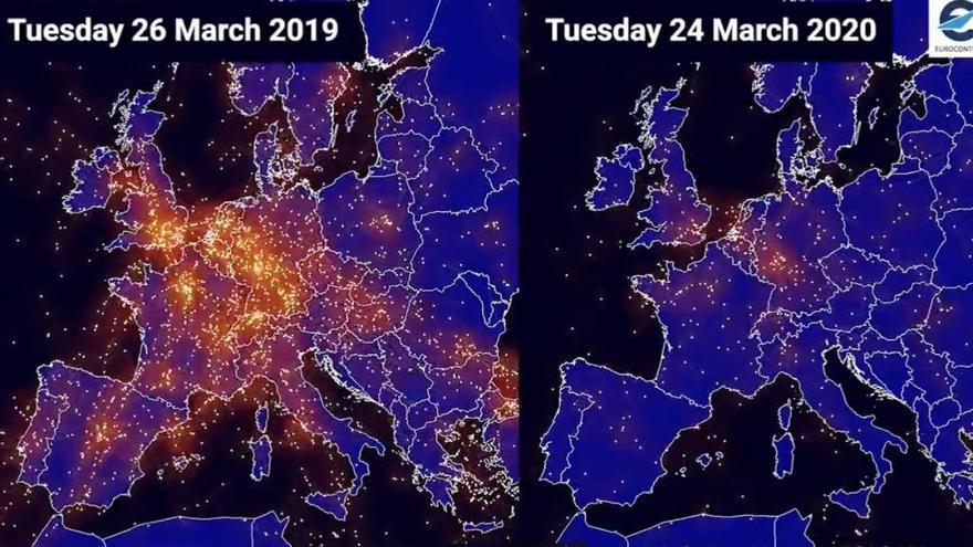 Así ha contagiado y vaciado el coronavirus el cielo de Galicia y Europa