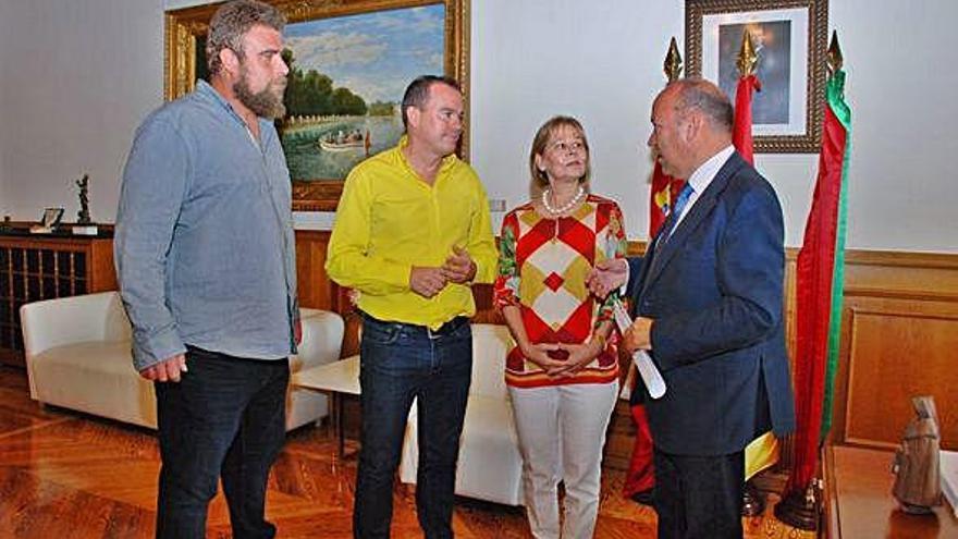 César Mayo, Francisco Requejo, Consuelo Posado y José María Barios, ayer. O. Z.