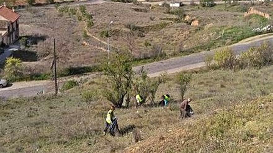 Cuatro personas recogen basura en el entorno de Allende.