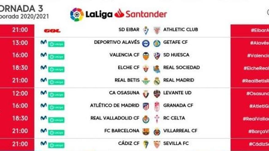 LaLiga vuelve a programar partidos el viernes y el lunes en la tercera jornada