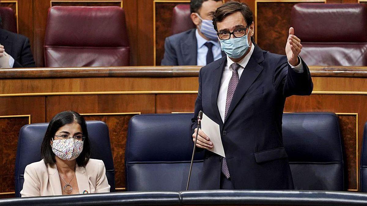 El ministro de Sanidad, Salvador Illa, ayer en su comparecencia en el Congreso.