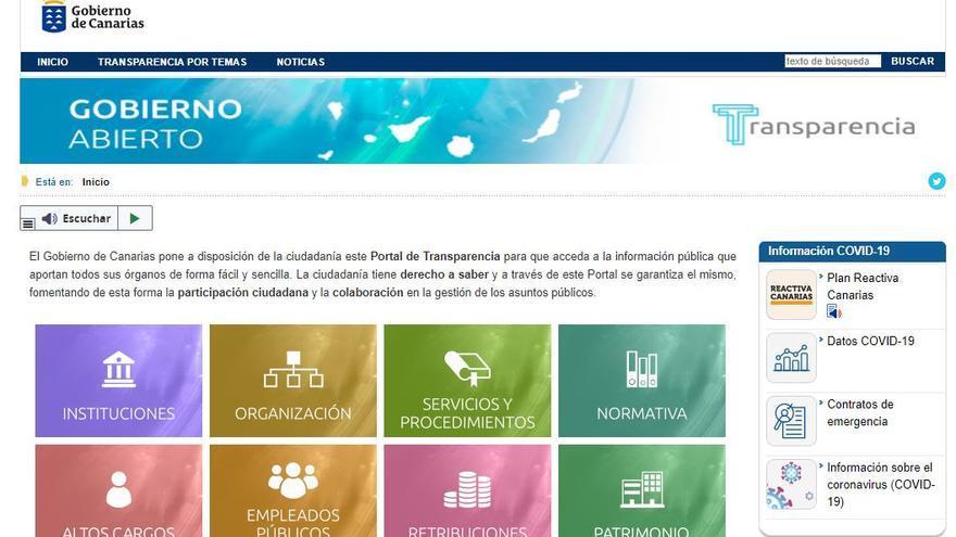 El portal del Gobierno de Canarias alcanza un 9,5 en el Índice de Transparencia