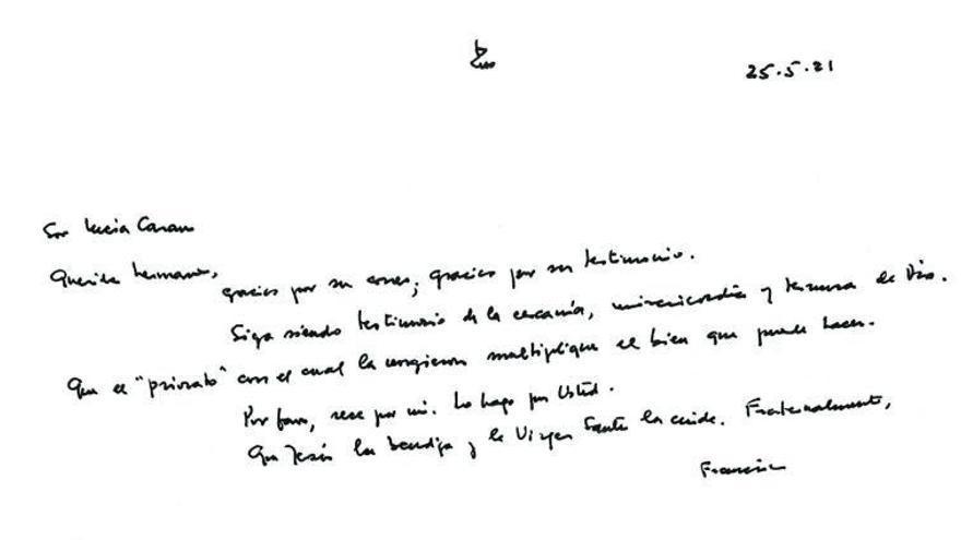 Carta del Papa a Sor Lucía Caram.