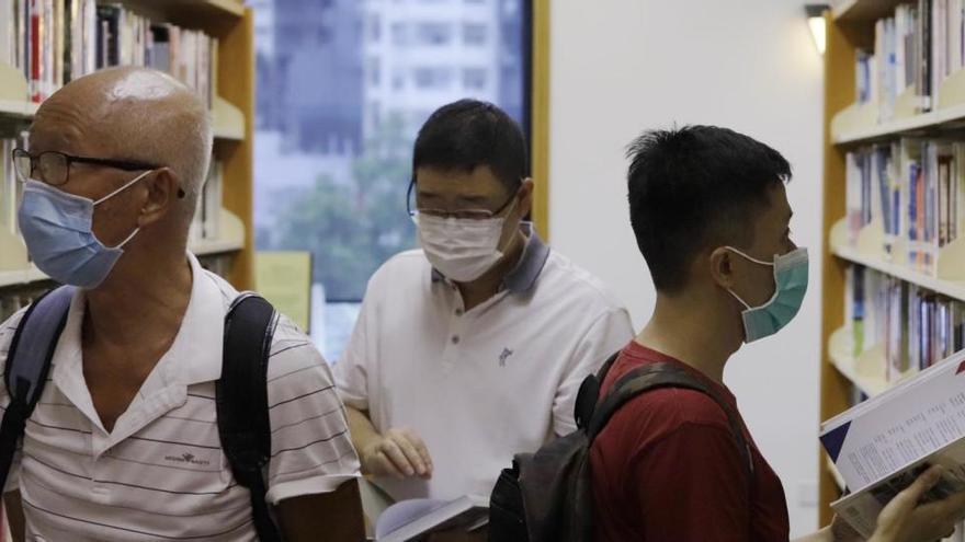 Una biblioteca en Hong Kong.