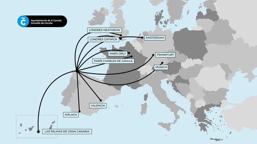 Londres, París, Munich, Amsterdam, Frankfurt... las rutas que quiere captar A Coruña en Alvedro