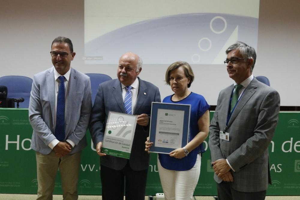 Entrega de los certificados de calidad a la sanidad malagueña.
