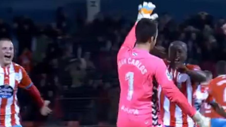 """""""Ha sido un churro"""", reconoce el portero del Lugo tras el golazo al Sporting desde su propio campo"""