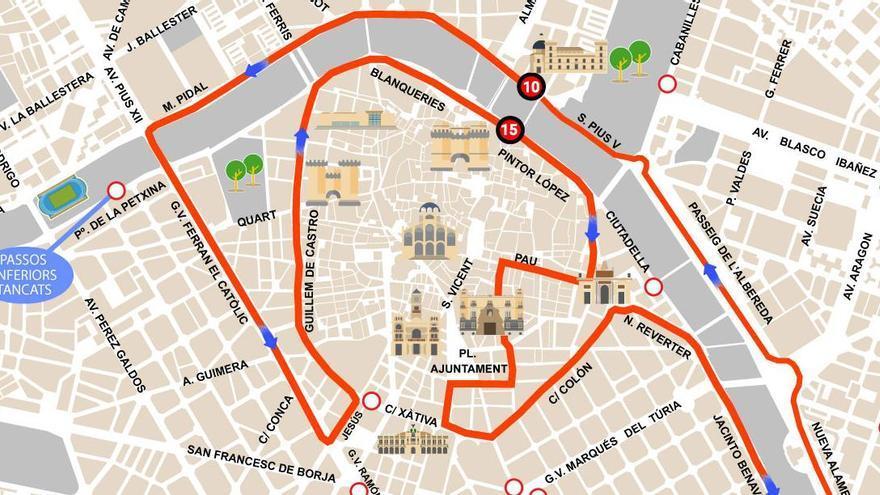Calles cortadas en València por el Maratón y Medio Maratón del domingo