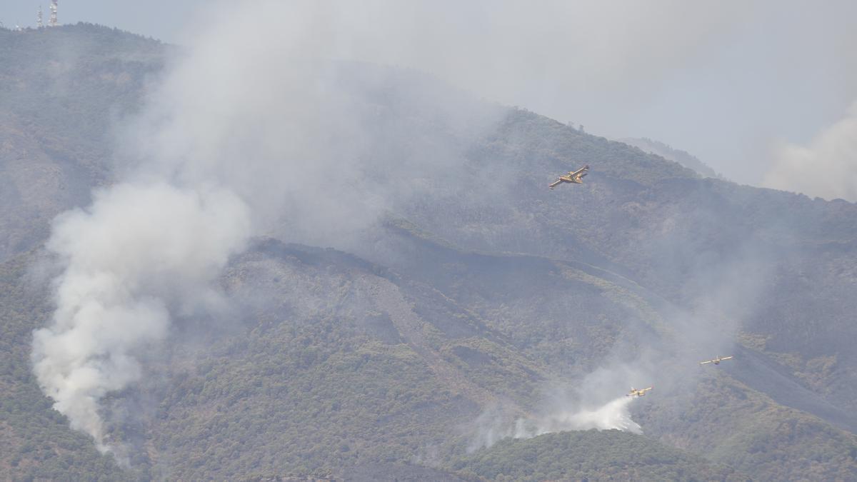 Los medios aéreos y terrestres continúan luchando contra el incendio en Sierra Bermeja, que se declaró este pasado miércoles y sigue activo.