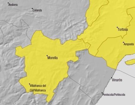 Zona de nivel máximo amarillo de alerta por viento