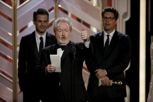 """Scott accepts the award after """"The Martian"""" won Best Motion Picture - Comedy at the 73rd Golden Globe Awards in Beverly Hills"""