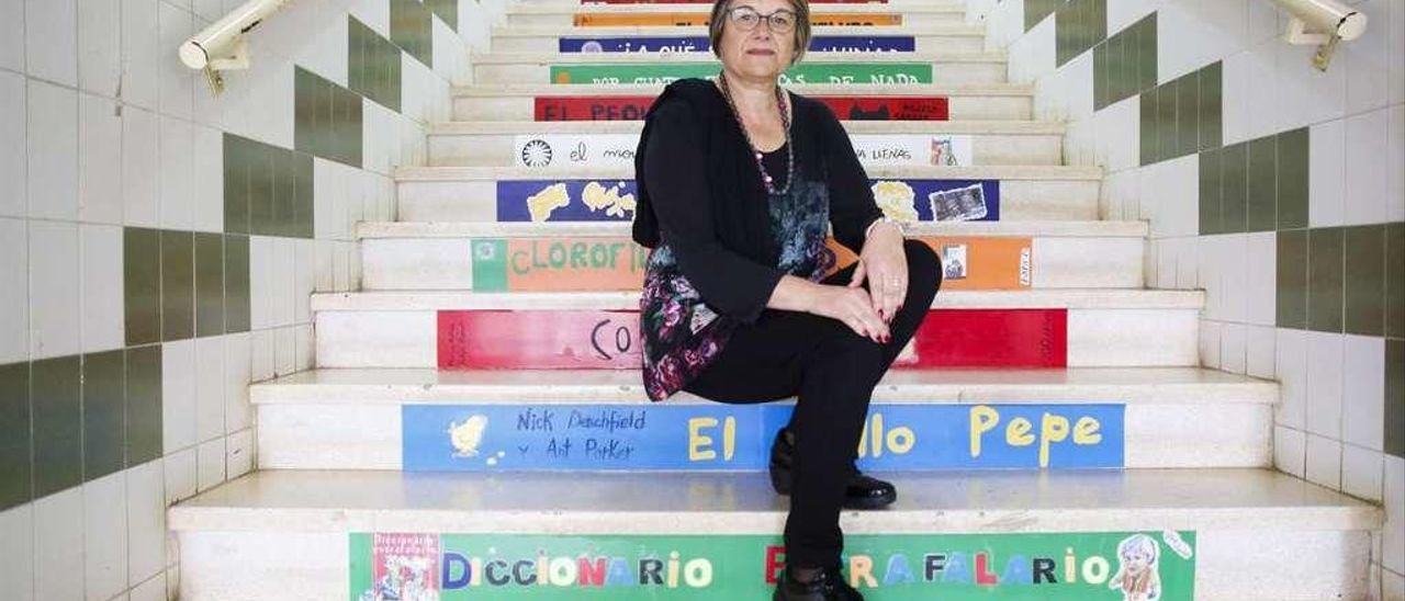 Cristina Alonso, en el colegio La Vallina de Luanco.