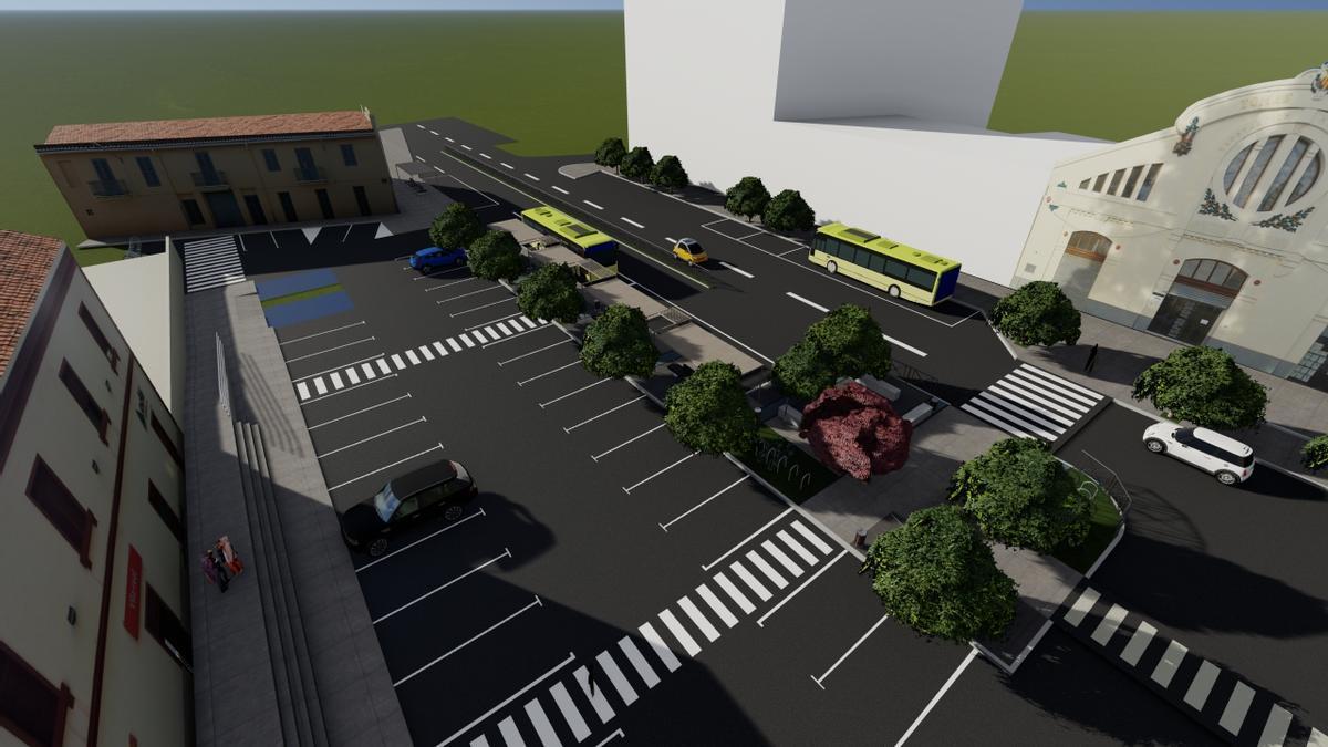 Imagen de cómo quedará el exterior de la estación de trenes de Vila-real una vez finalice la obra en marcha.