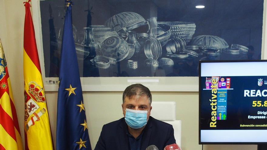 El alcalde de Villena durante una comparecencia en el Ayuntamiento.