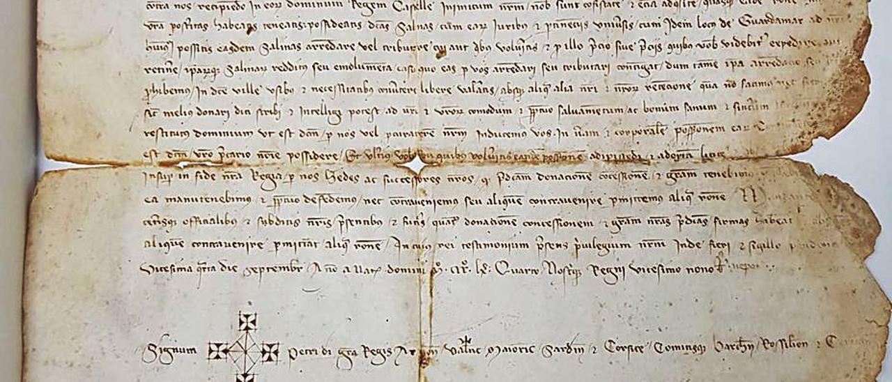 Imagen del pergamino que conservará el archivo de Orihuela. | INFORMACIÓN