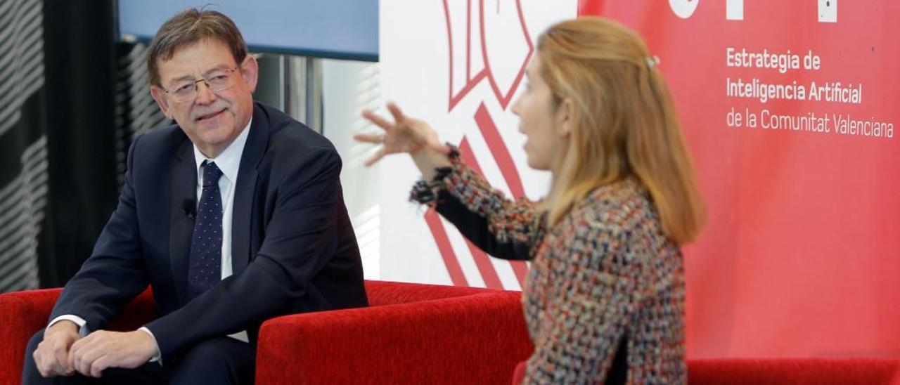 El president Ximo Puig con Nuria Oliver en la sede del Distrito Digital en la Ciudad de la Luz.