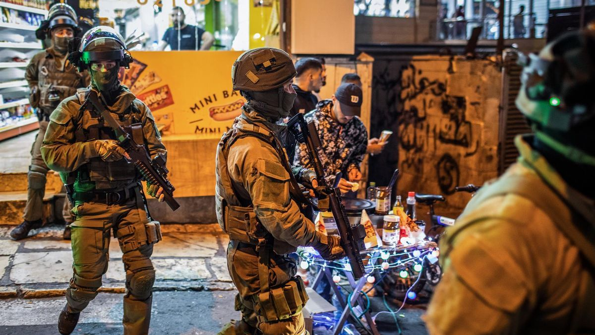 Israeli security forces are deployed during a demonstration against the planned eviction process for Palestinians in the Sheikh Jarrah neighborhood.