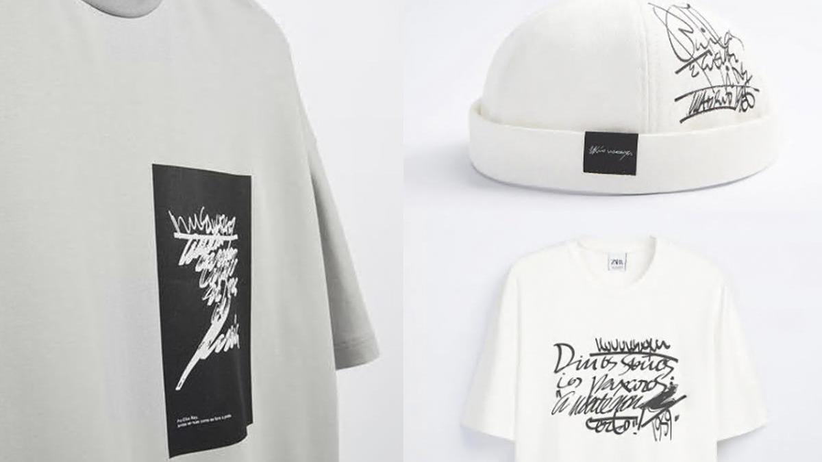 Dos diseños diferentes de camiseta y un gorro donde puede verse la caligrafía del poeta gallego. // Zara