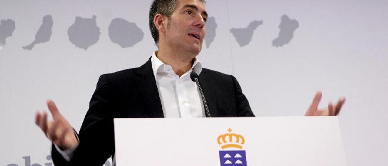 Fernando Clavijo, el pasado miércoles en Presidencia, donde dio a conocer los nombres de los nuevos consejeros.