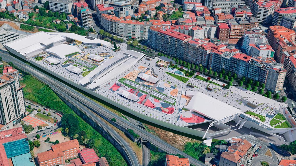 Recreación virtual de la gran plaza que se ubicará sobre el centro comercial Vialia de Vigo
