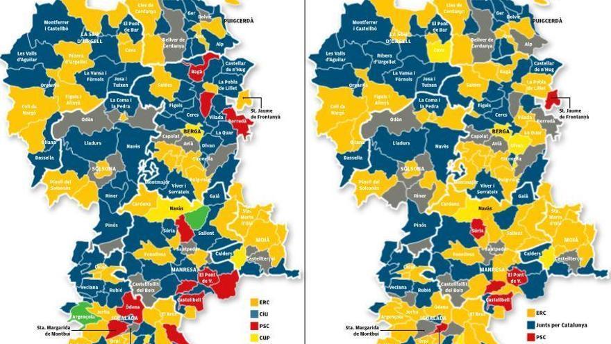 Un de cada quatre municipis canvia de color respecte al 2015