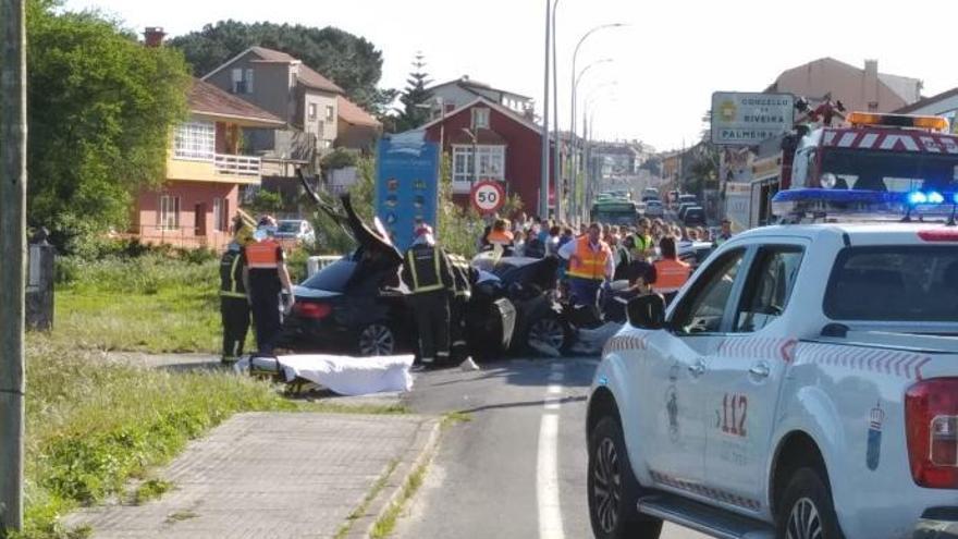 Dos fallecidos y un herido grave en una colisión frontal