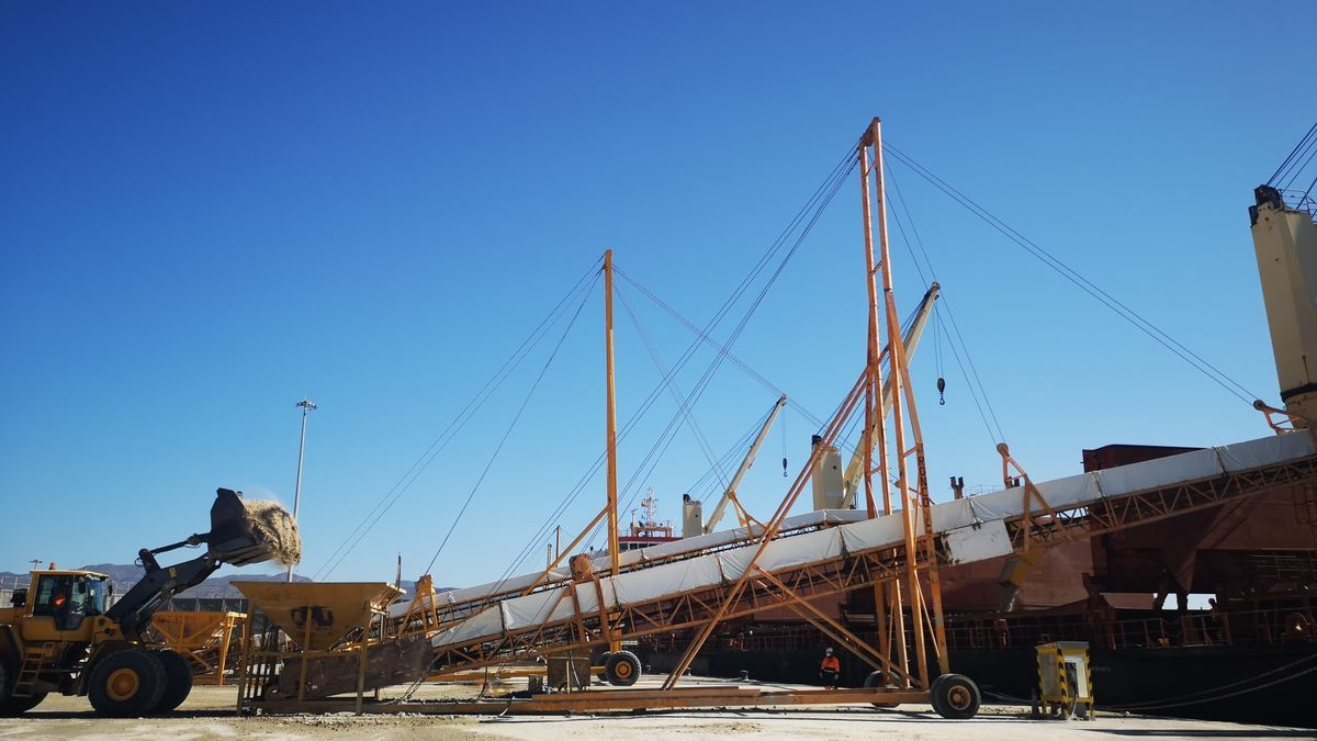 Exportación de graneles desde el puerto almeriense de Carboneras.