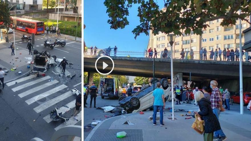 Cae con su coche de un puente en A Coruña tras un pique entre otros dos vehículos