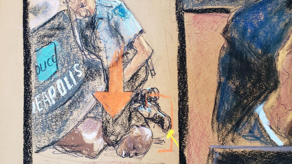 Un dibujo del momento del arresto de George Floyd.