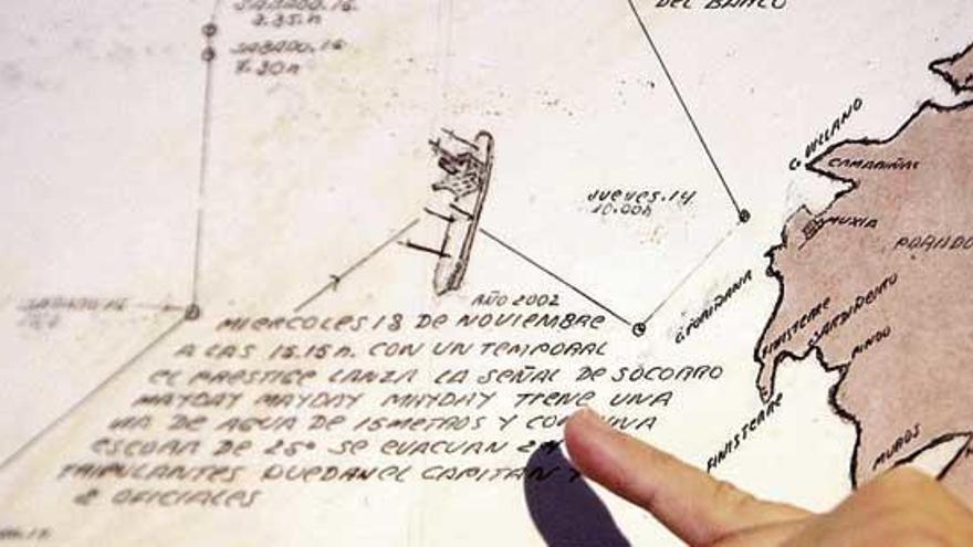 """La última carta náutica del 'Prestige': siete días """"hacia ninguna parte"""""""