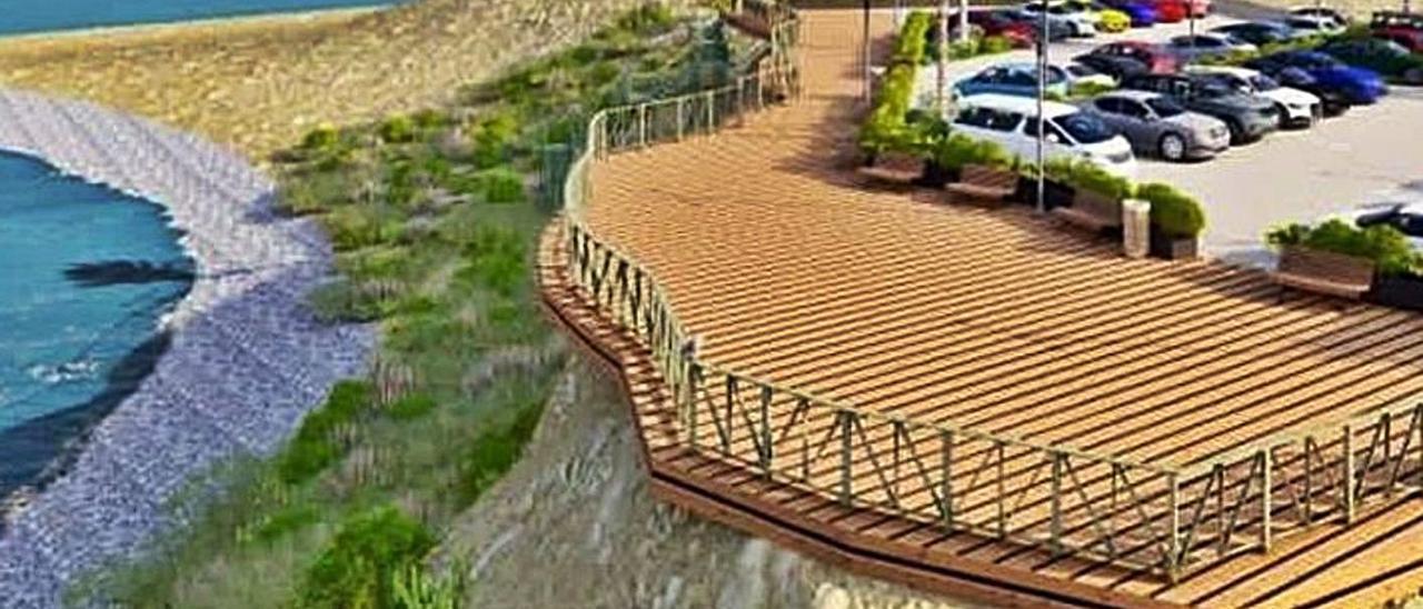 La simulación del proyecto de mirador y y el aparcamiento  en la zona de El Xarco.     INFORMACIÓN