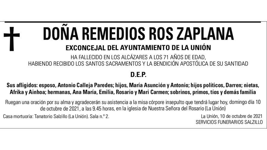 Dª Remedios Ros Zaplana